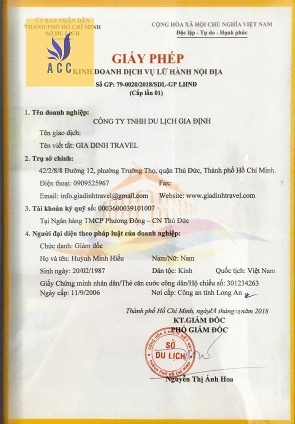Mẫu giấy chứng nhận đủ điều kiện kinh doanh lữ hành nội địa tại TPHCM