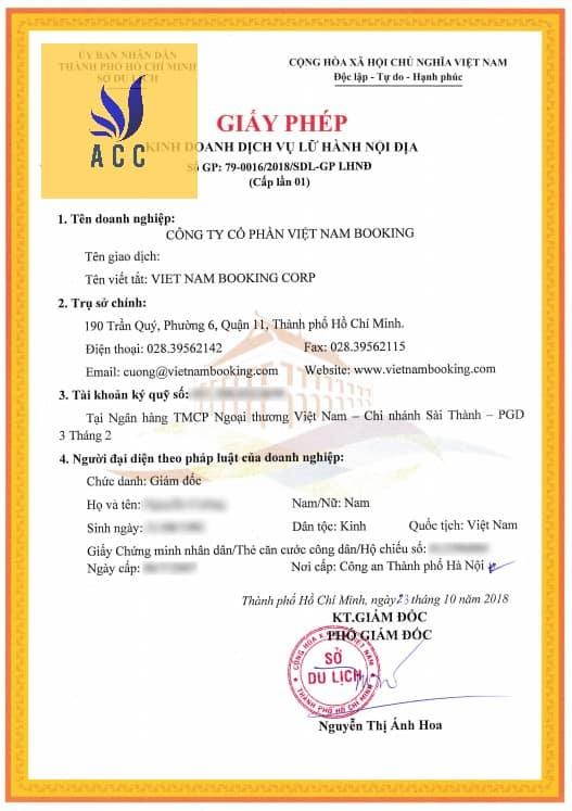 Mẫu giấy chứng nhận đủ điều kiện kinh doanh lữ hành nội địa tại Hà Nội