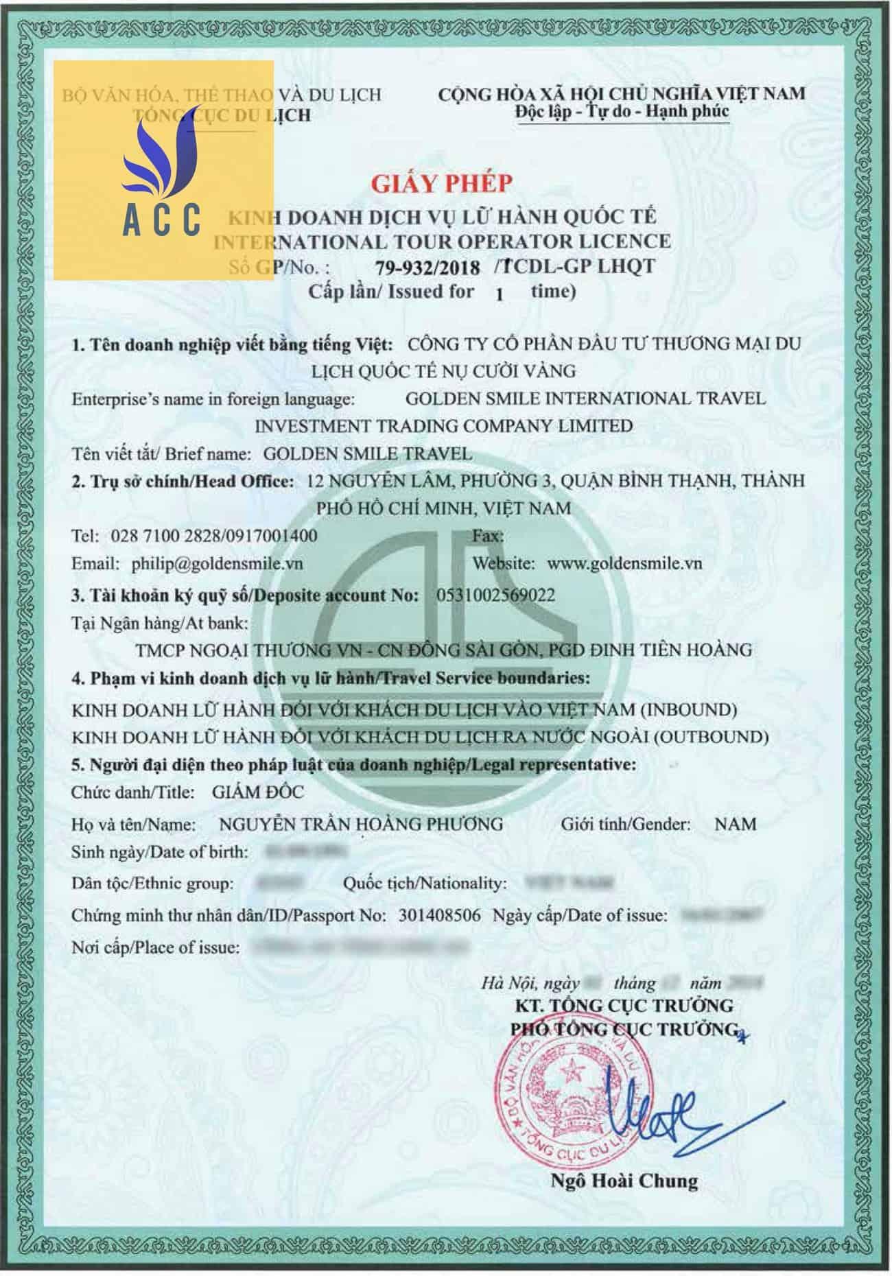 Mẫu Giấy phép lữ hành quốc tế TPHCM