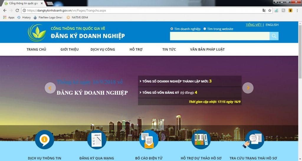 Truy cập vào website dangkykinhdoanh.gov.vn