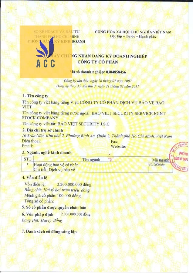Mẫu giấy phép kinh doanh dịch vụ bảo vệ