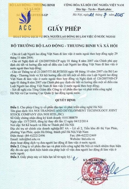 giấy phép đào tạo Đưa Lao Động Ra Nước Ngoài của Bộ Lao Động Thương Binh