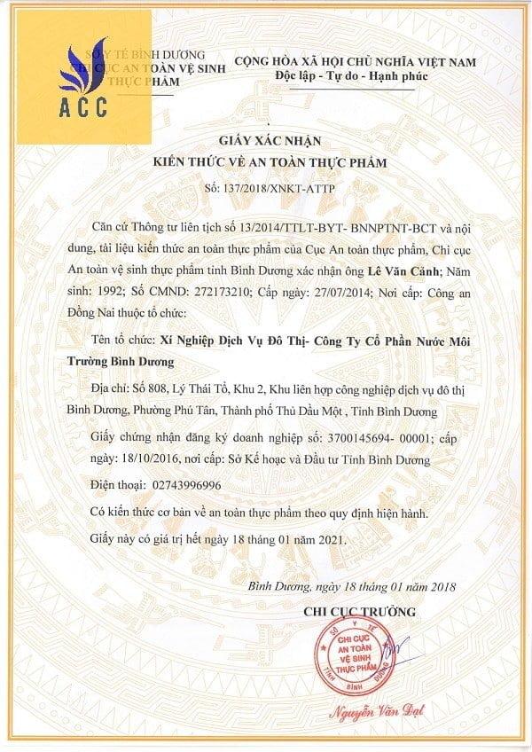 giấy xác nhận kiến thức an toàn thực phẩm